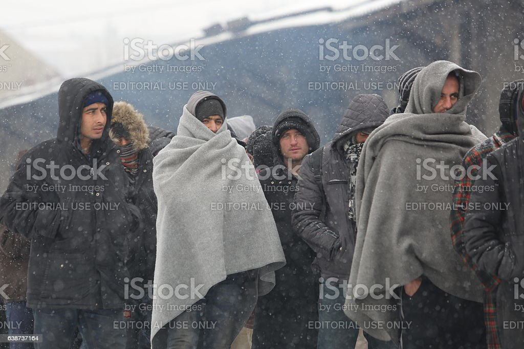 Migrants in Belgrade during winter stock photo