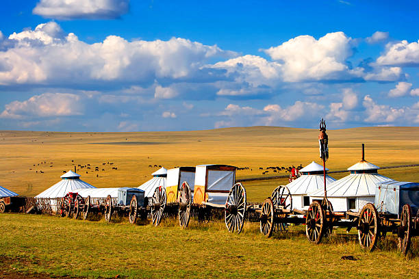 Migration Transport Migration transport in Inner Mongolia, use to migrate from one place to another. mongolian culture stock pictures, royalty-free photos & images