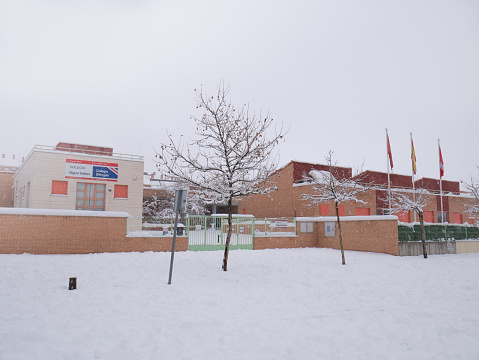 Miguel Delibes school during a snowfall due to the storm Filomena, closed due to accumulation of snow and safety for schoolchildren