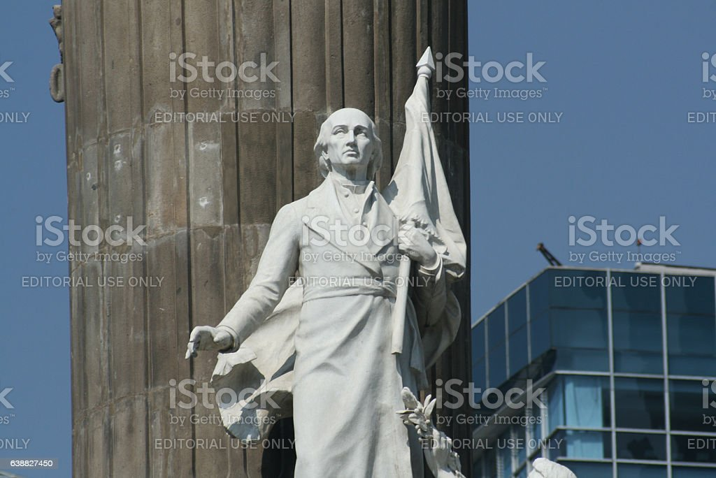 Miguel Hidalgo marble statue in Independence Monument stock photo