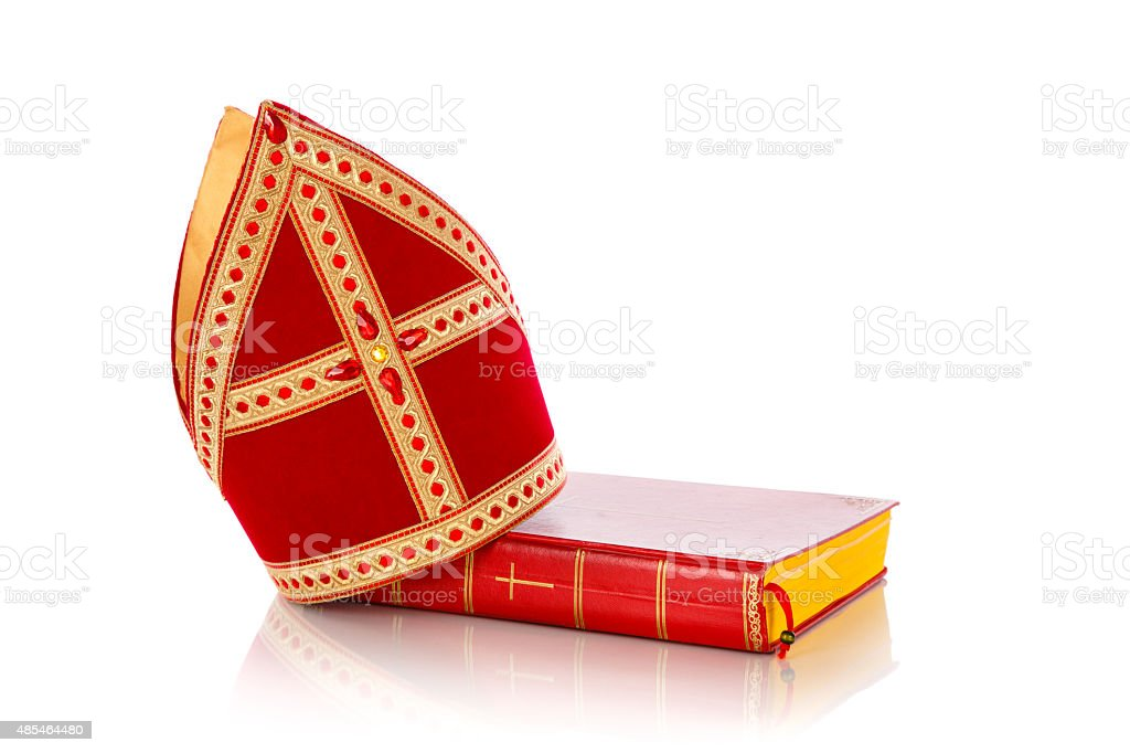 Mijter and book of sinterklaas stock photo