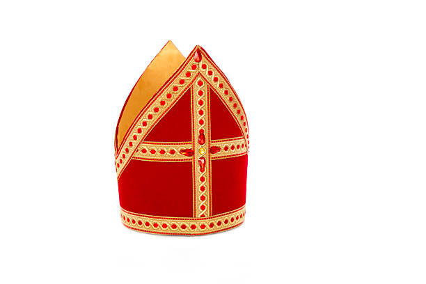 Mijter of sinterklaas Mitre or mijter of Sinterklaas. Isolated on white backgroud. Part of a dutch santa tradition sinterklaas stock pictures, royalty-free photos & images