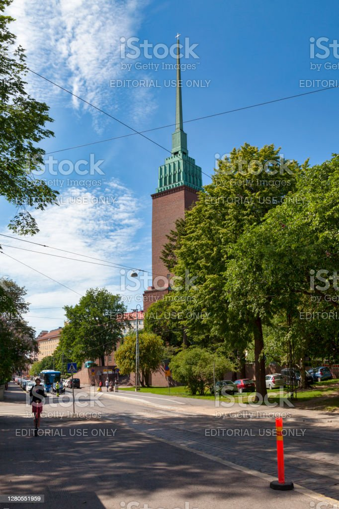 Mikael Agricola Church in Helsinki Helsinki, Finland - June 19 2019: Mikael Agricola Church is a Lutheran church designed by Lars Sonck and built between 1933 and 1935. Architecture Stock Photo