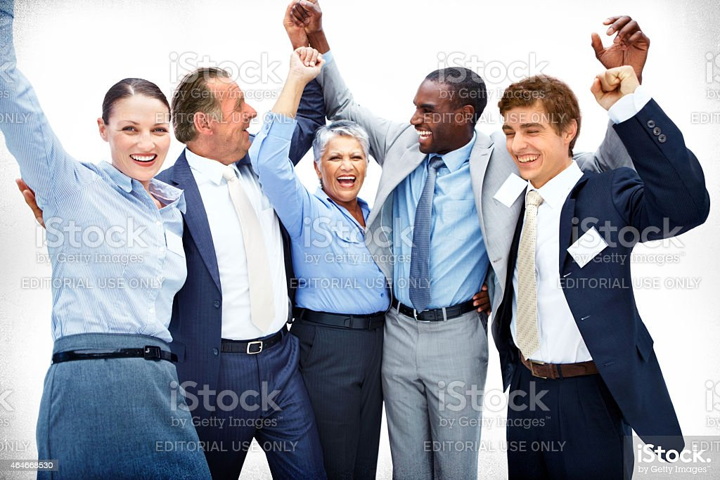 Mike Pancake and the team celebrate stock photo