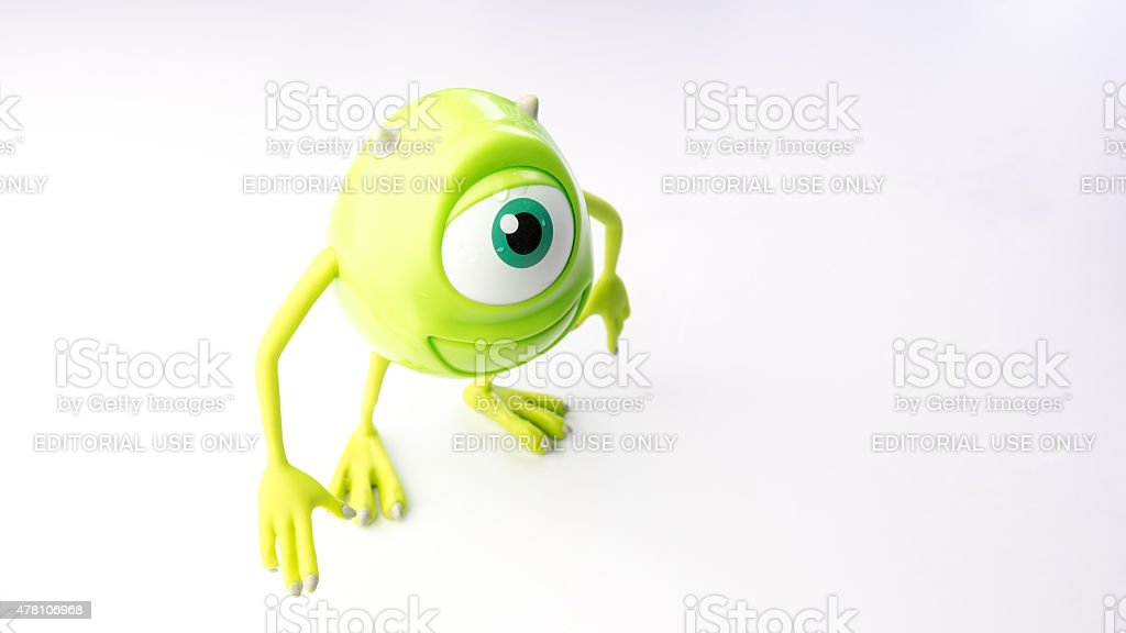 Mike Wazowski figure character from Monsters movie stock photo