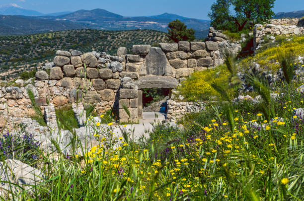Mikines Greece April 12 2017-View of the Lion Gate - the main entrance of the Bronze Age citadel of Mycenae stock photo