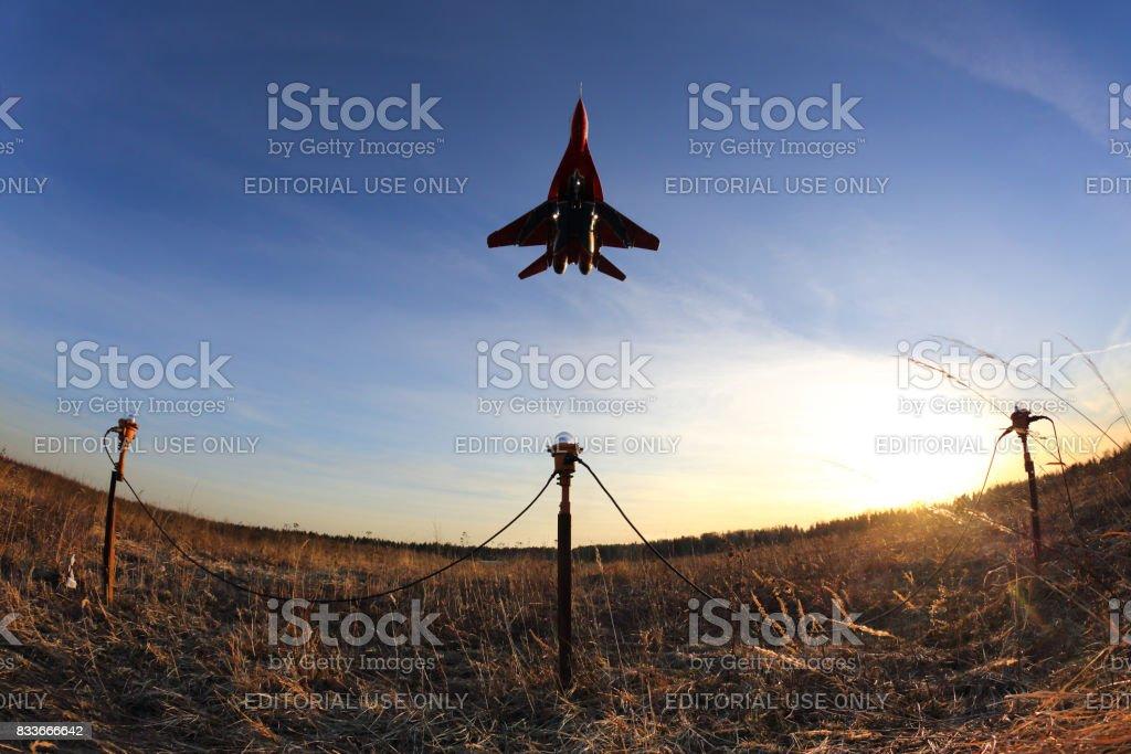 Mikoyan Gurevich MiG-29 03 BLUE at Kubinka air force base. stock photo