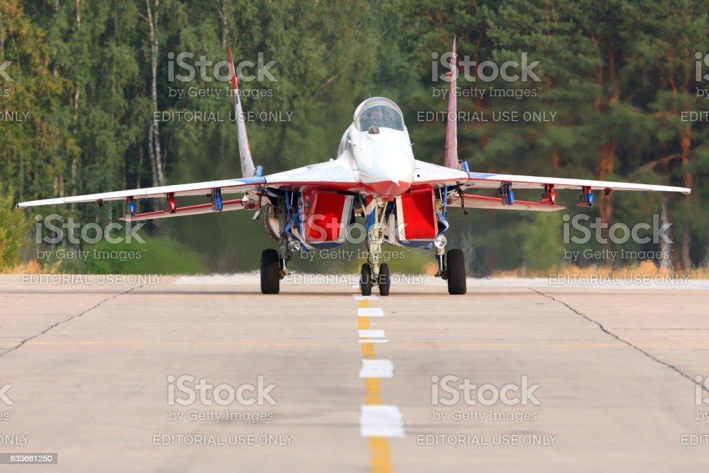 Mikoyan Gurevich MiG-29 05 BLUE at Kubinka air force base. stock photo