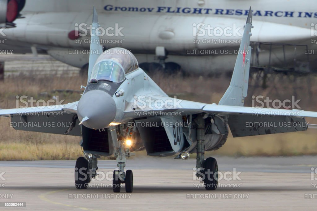 Mikoyan Gurevich MiG-29K 941 BLACK of russian navy jet fighter at Zhukovsky. stock photo