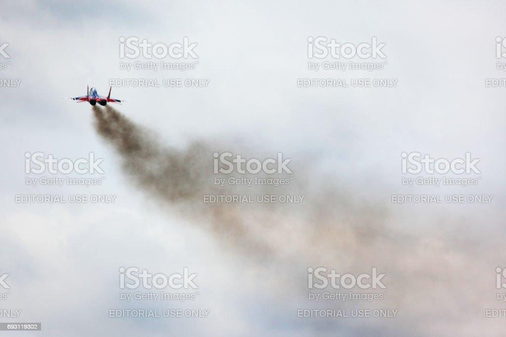 Mikoyan MiG-29 of Swifts aerobatics team jet fighter take off at Kubinka air force base. stock photo