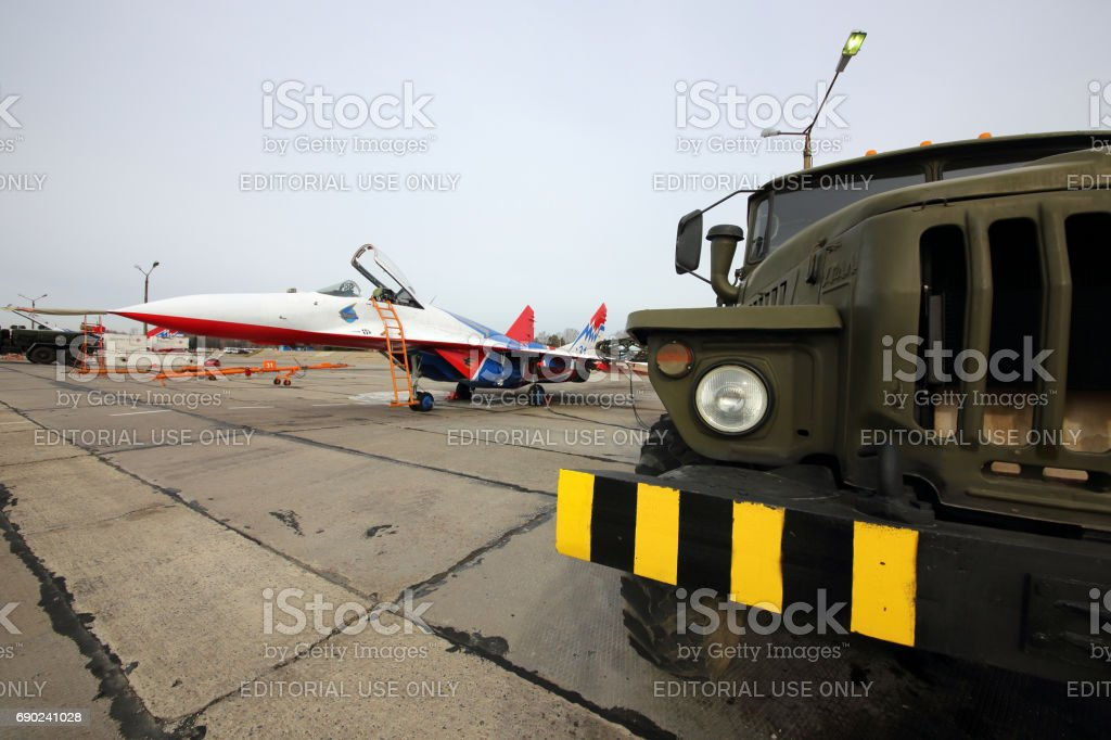 Mikoyan-Gurevich MiG-29 of Swifts aerobatics team of Russian air force during Victory Day parade rehearsal at Kubinka air force base. stock photo