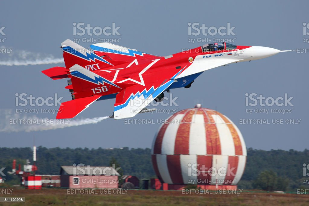 Mikoyan-Gurevich MiG-29OVT 156 WHITE at Zhukovsky during MAKS-2011. stock photo