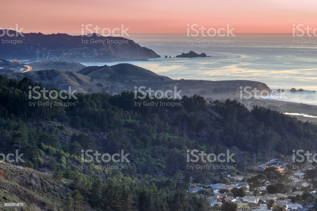 Milagra Ridge Coastal Dusk Views. stock photo