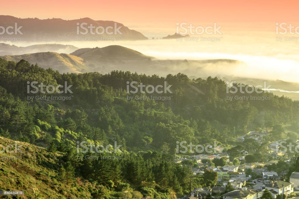 Milagra Ridge Coastal Sunset Views. stock photo