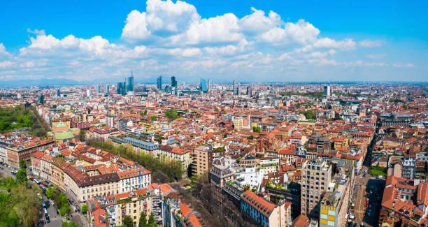 Milan aerial panoramic view, Italy stock photo