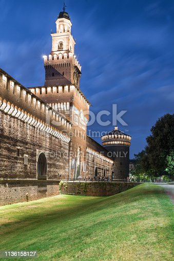 Milan, Italy – August 10, 2017: square Castello, public pedestrian path in front of the castello Sforzesco (Sforza Castle) in the evening. The sforza castle is one of the monuments symbol of Milan