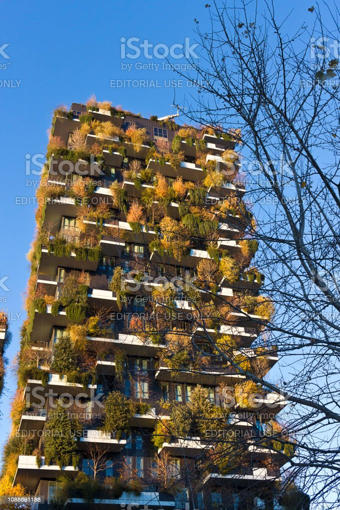 Milan - Bosco Verticale residential tower, the leaves change color in autumn, Porta Nuova district , Italy - foto stock