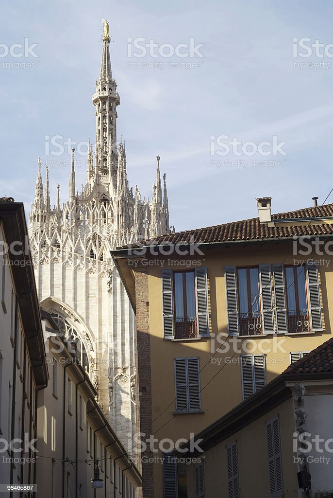Milan (Italy) - Cathedral and old houses royalty-free stock photo
