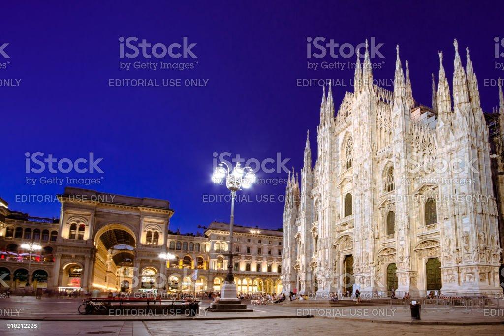 Milan Cathedral, Piazza del Duomo at night, Lombardia, Italy stock photo