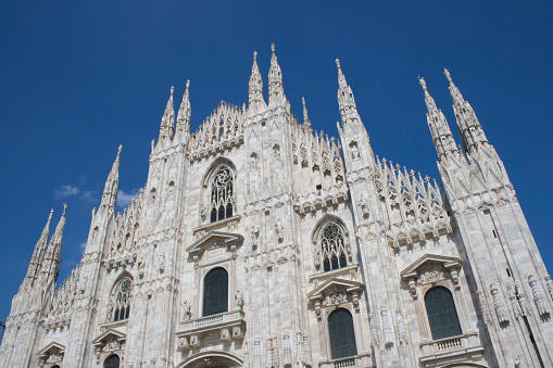 Recently restored facade of  the gothic Cathedral in Milan.
