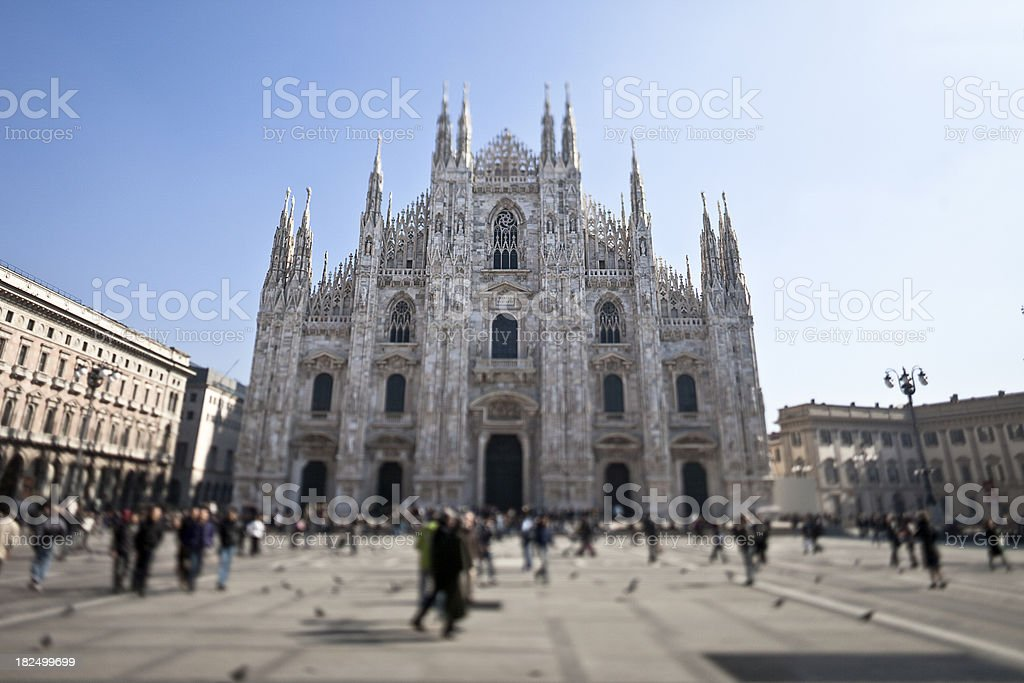 Milan Cathedral Square with tilt shift lens royalty-free stock photo