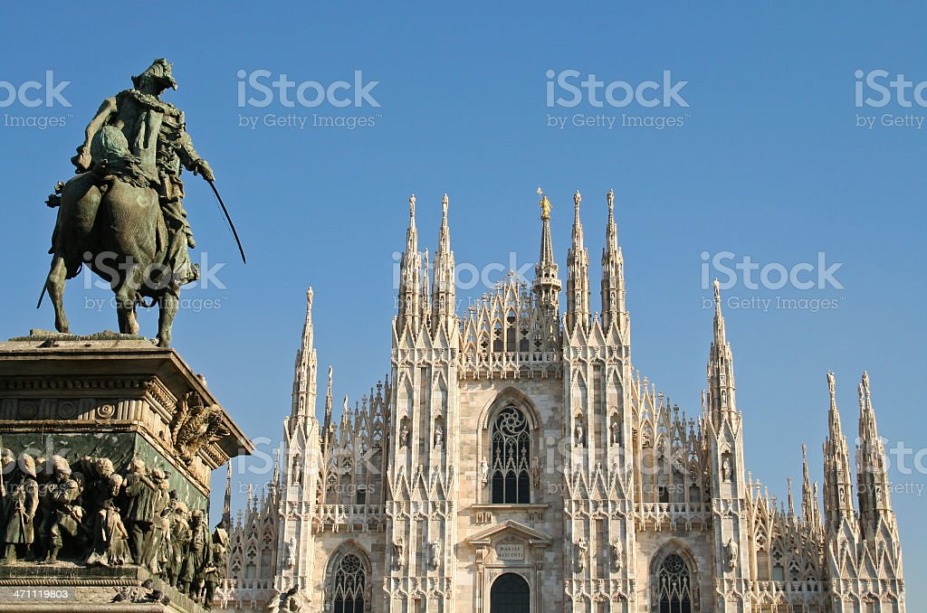 Milan Cathedral with cavalier statue in closeup view royalty-free stock photo