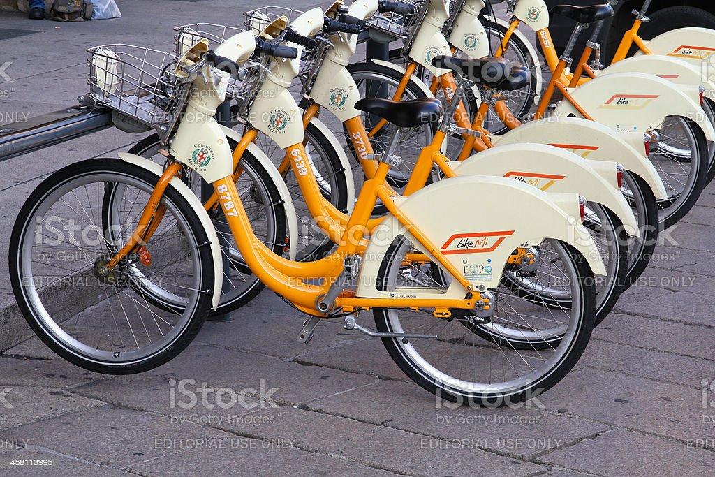 Milan city bikes stock photo