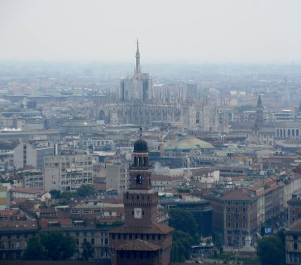 Milan cityscape and Sforza castle, Italy stock photo