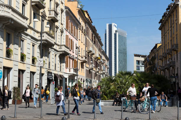 Milan, Corso Como, old popular pedestrian street near Porta Nuova district,  Lombardy Italy stock photo
