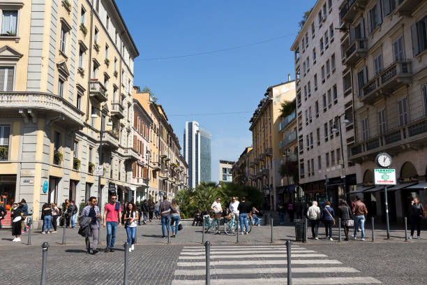 Milan, Corso Como, trendy pedestrian area situated between Piazza Gae Aulenti and Piazza XXV Aprile, Lombardy Italy stock photo