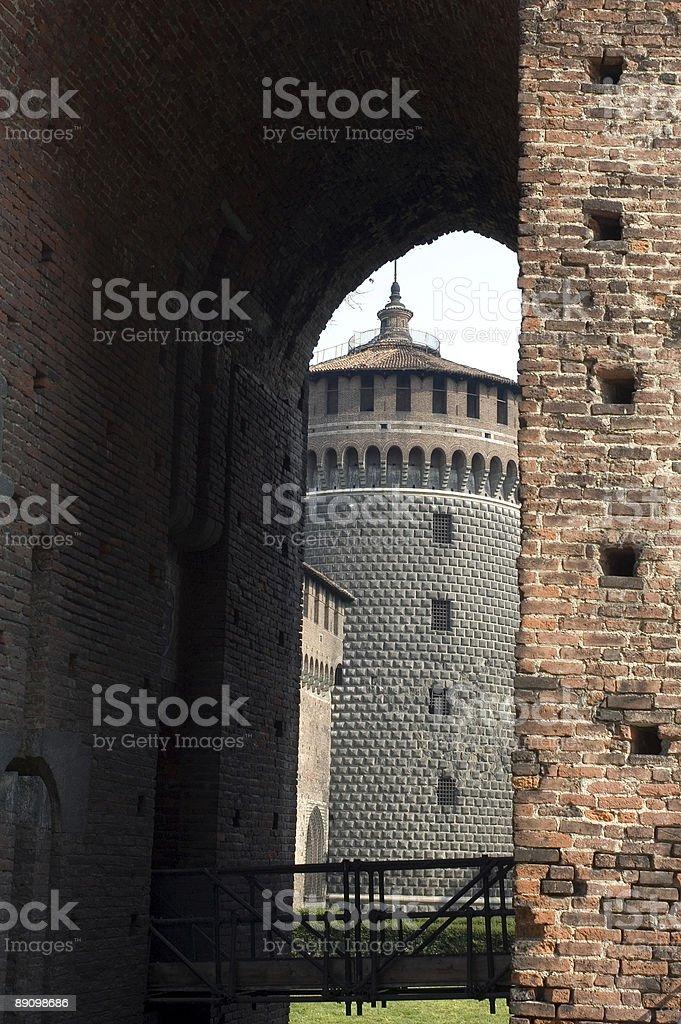 Milan - Cylindric tower of the Castello Sforzesco royalty-free stock photo