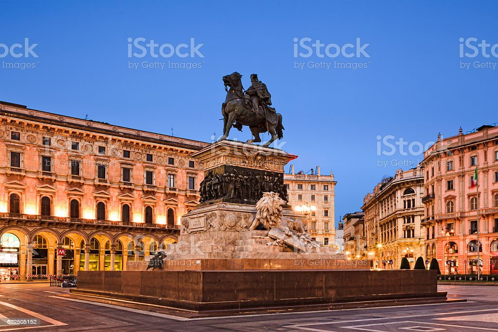 Milan Duomo Square Statue stock photo