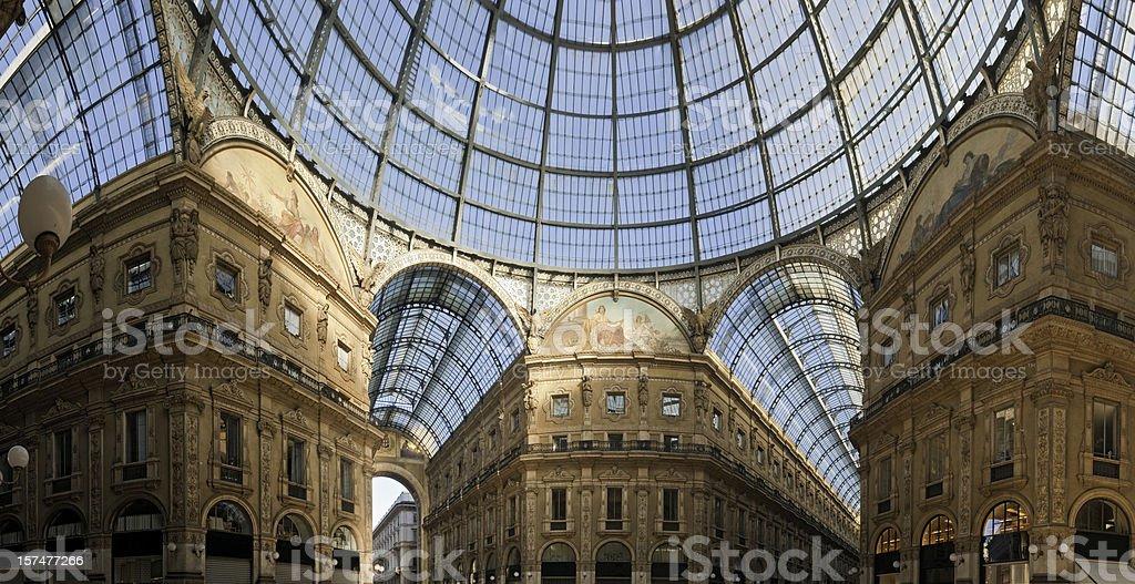 Milan Galleria Vittorio Emanuele II panorama royalty-free stock photo