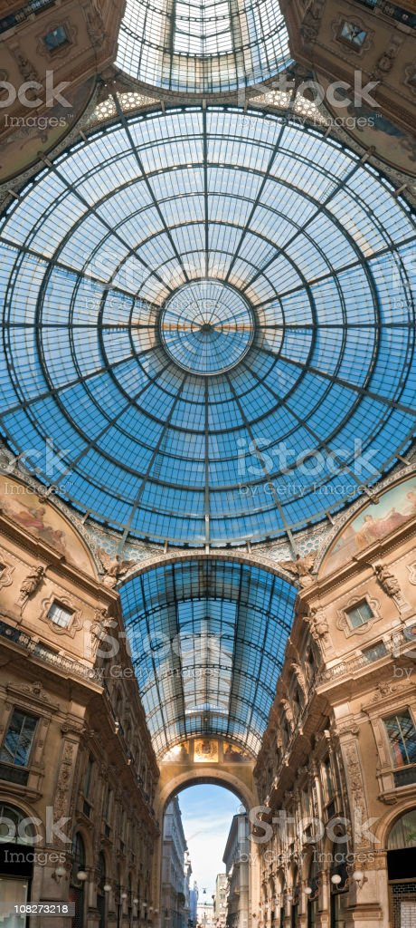 Milan Galleria Vittorio Emanuele vertical dome royalty-free stock photo