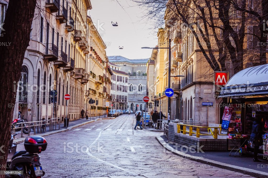 Milan, Italy - 30 Dec, 2017 - Beautiful view on the street in the central part of the city - foto stock