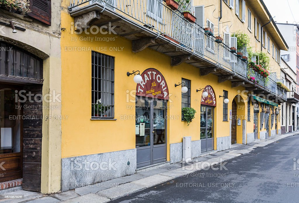 Milan, Italy. Area of 'Navigli' with typical restaurant stock photo