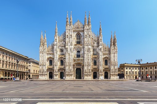 istock Milan Italy, city skyline at Milano Duomo Cathedral empty nobody 1221100206