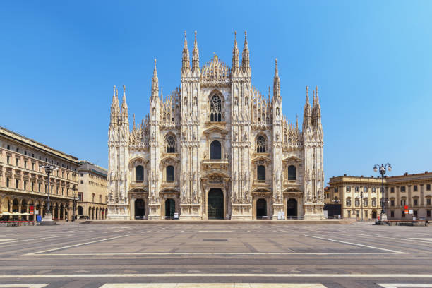 Milan Italy, city skyline at Milano Duomo Cathedral empty nobody