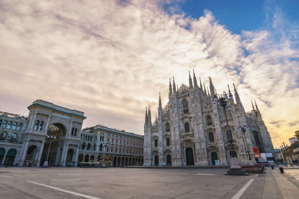 Milan Italy, city skyline sunrise at Milano Duomo Cathedral empty nobody