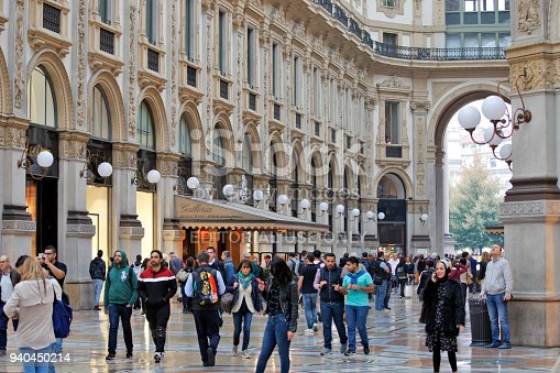 Milan, Italy - October 03, 2017: ''Galleria Vittorio Emanuele II'' - Shopping center in historic, glass-covered passage way with luxury branded clothing and gourmet restaurants in Milan
