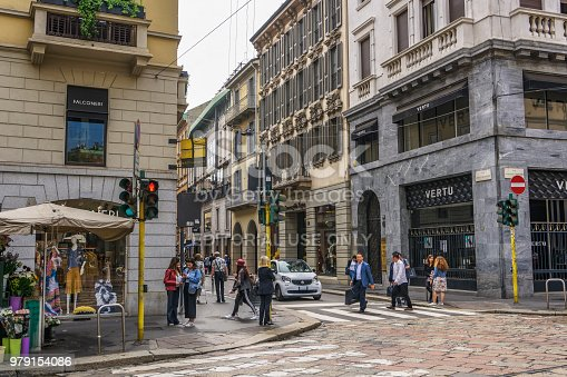 Milan, Italy - May 12 2018: Window shopping people at Milano fashion district with Montenapoleone sign.