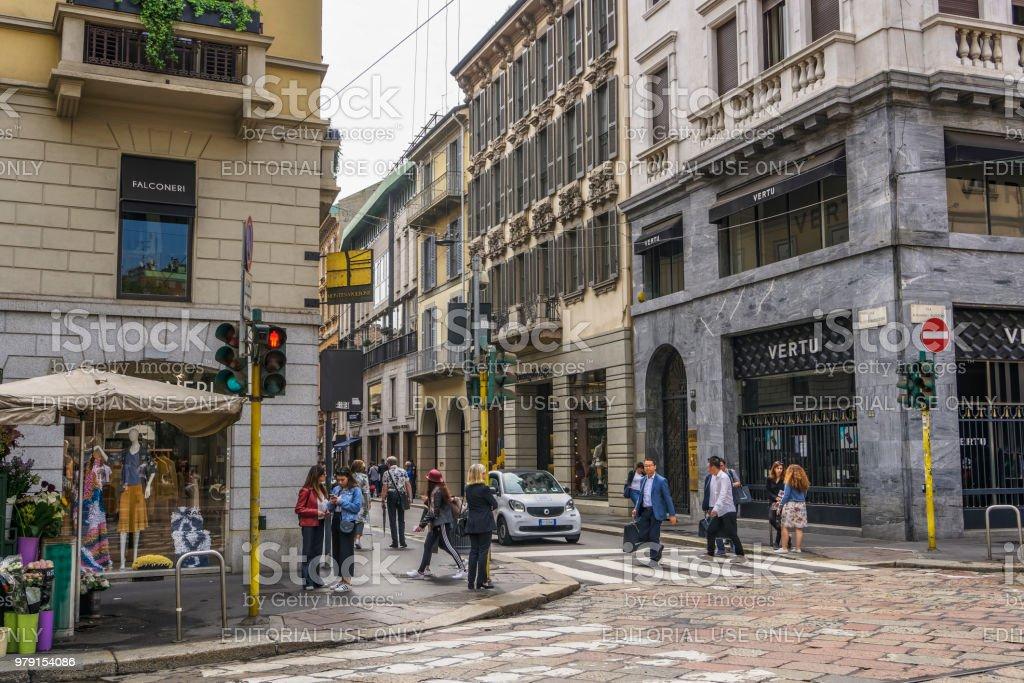 Milan, Italy Via Monte Napoleone shopping street. stock photo