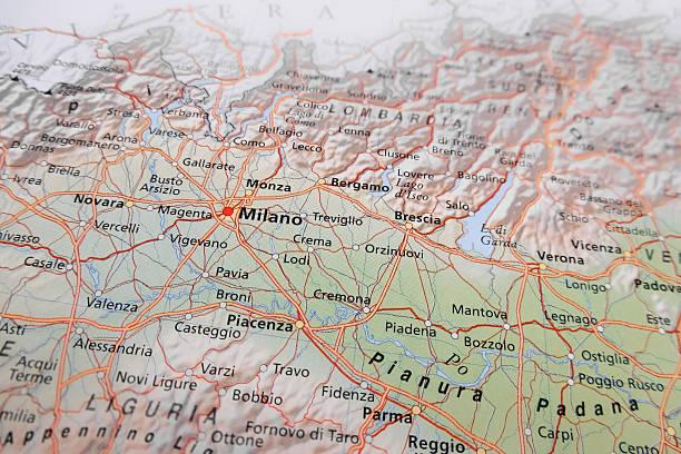 mapa de milão - lombardia - fotografias e filmes do acervo
