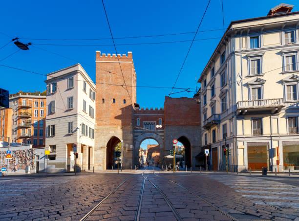 Milan. Old medieval city gates Porta Nuova. stock photo