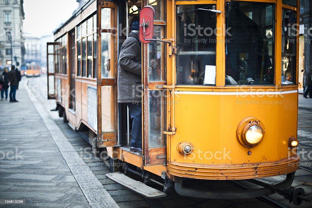 Milan Orange Cable Car City Life Urban Scene royalty-free stock photo