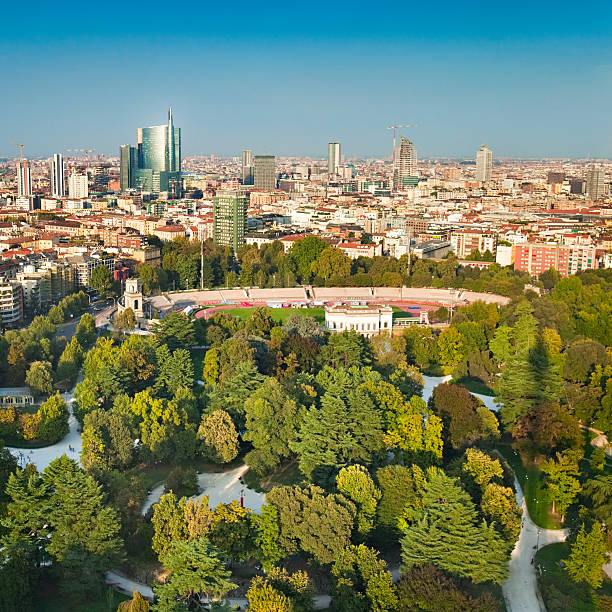 Milan panorama stock photo