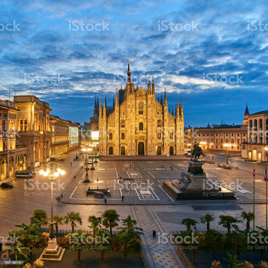 Milan Piazza Del Duomo at Dawn, Italy stock photo