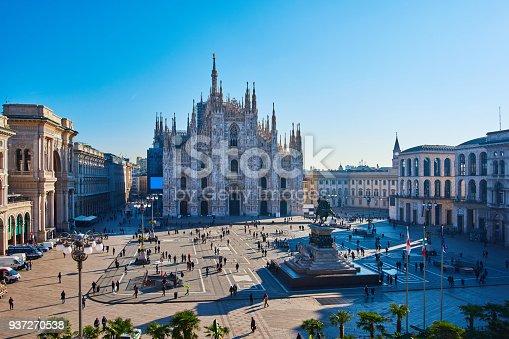 Milan Piazza Del Duomo and Duomo Di Milano at morning in blue sky, Milan, Italy.