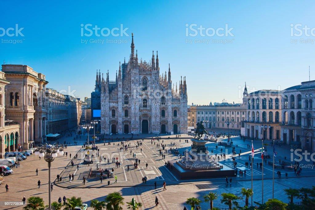 Milan Piazza Del Duomo at Morning, Milan, Italy stock photo