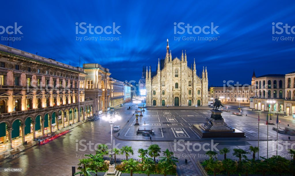 Milan Piazza Del Duomo at Sunrise, Italy stock photo